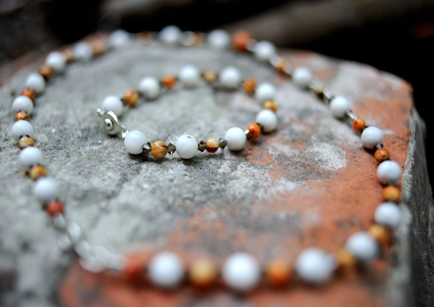 Details about  /Blue Howlite and Coral Choker