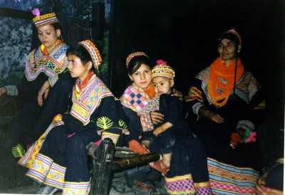 Kalash girls in their home- Bhumbule Valley- Pakistan